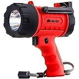 NoCry LED Taschenlampe | Wasserfest & wiederaufladbar | Suchscheinwerfer mit 1000 Lumen | Abnehmbarer Rotlicht Filter | Mit Wand- und KFZ-LadegerŠt | LED Handscheinwerfer