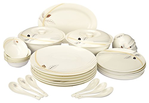 BESTO Bone China Premium Dinnerware Set( Set of 35-Pieces), USA Gold Platinum Series, Leaf print on white