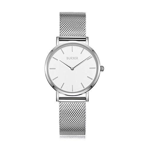 Burker Ruby Jr. - Damenuhr Silber | 33mm Silberne Uhr für Damen mit Ziffernblatt | Frauen Quarz Armbanduhr wasserdicht (30M) | Kleines Flaches Watch Gehäuse - Uhren Armband inklusive