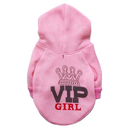 YiJee Haustier T-Shirts Kostüm Welpe Hoodie Mantel Hund Katze Warm Sweatshirts Bekleidung Pink S