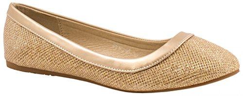 Elara Damen Ballerina | Hochwertige Glitzer Slipper | Flats Slip-Ons Größe 38, Farbe Gold (Gold Schuhe Ballerinas)