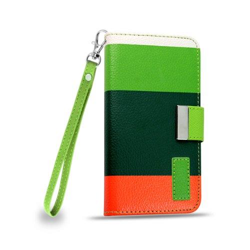 Amo® Étui portefeuille et support pour Samsung Galaxy S4, S4Mini, S3, S3Mini, iPhone 5et iPhone 4 Motif à rayures colorées, Scheme D, Samsung Galaxy S4 mini Scheme D