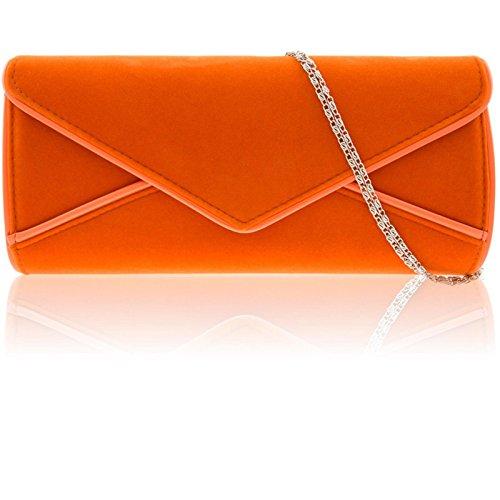 Zarla grande da donna, in ecopelle scamosciata, da donna, per abiti da sera-Borsetta a forma di busta Arancione (arancione)