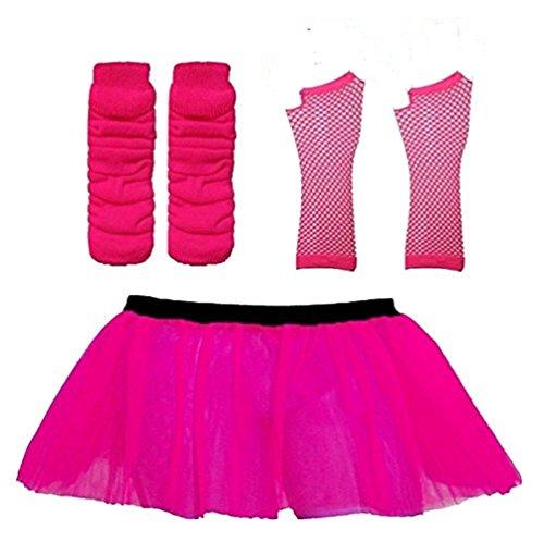 Damen 3 Layer Tutu Set, Beinwärmer & Fischnetz Handschuhe Größe 36-44 (Neon - Tanz Show Kostüm Billig