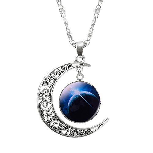 GHJ Halskette Modeschmuck Halskette Glas Galaxy Anhänger Silberkette Mond Halskette Schmuck Geschenk Hochzeitstag Geschenk, Bild 10
