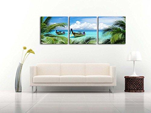 wall art print auf Leinwand Bild Tropical Seascape blau Sandy Beach Palmen langen Schwanz Boote Maya Bay Thailand 3Bilder moderne Giclée-gedehnt gerahmt-Kunstwerken Foto Prints