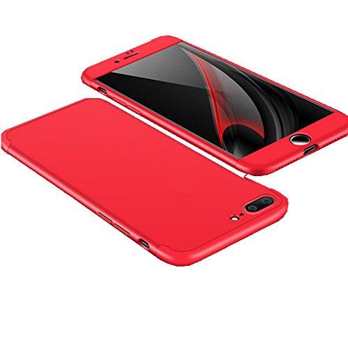 Vanki® Coque iPhone 7 Plus, Ultra Rigide Léger 360 Case Degres Souple 3-en-1 PC Récurer Protector Shell pour iPhone 7 Plus (5,5 Pouces) Rouge