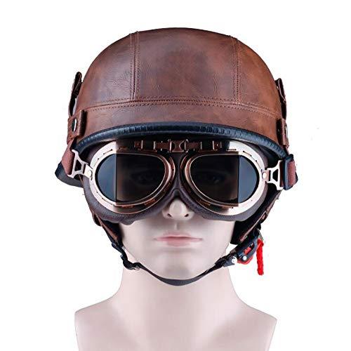 GYOUC Harley Helme Jet-Helm,Vintage Halbschalenhelm,Motorrad Cruiser Leder Helm Bike Scooter EIN Leichter Helm Für Eine Mitfahrgelegenheit, ECE Certification