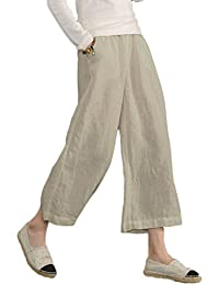 07bee669503 Sonya Ecupper Womens Linen Wide Leg Cropped Capri Pants Plus Size Elastic  Waist with