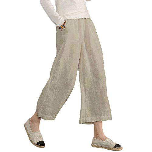Ecupper Damen Leinenhose 7/8 Sommerhosen Leicht mit Elastischem Bund Casual Loose Fit Straight Leg Trousers, DE 42, Kahki