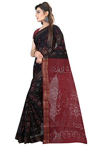 Bandhani Saree ( Nirja Creation Multicolor Cotton Silk Saree) (Brown)