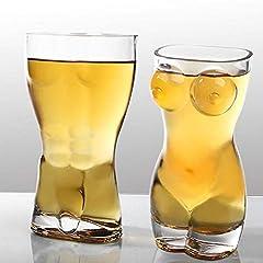 Idea Regalo - JUMP personalità di Bellezza 2Pcs di Bellezza della Tazza del Pub della Discoteca della Tazza Umana della Tazza di Birra di Vetro Trasparente Creativa