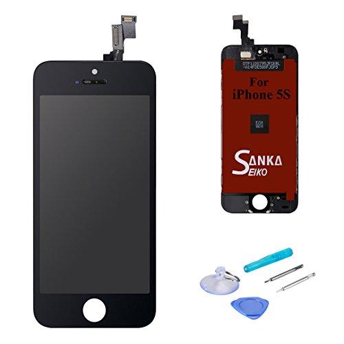 SANKA LCD Tactile Ecran Retina Vitre Display Digitizer de Remplacement Assemblée Complet pour iPhone 5S - Noir (Free outils Inclus)