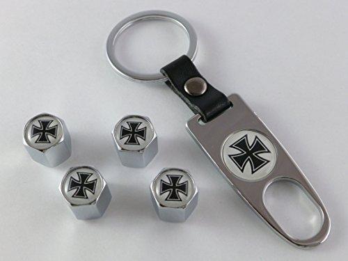Preisvergleich Produktbild Ventilkappen Set Iron Cross Chrom inkl. Schlüsselanhänger