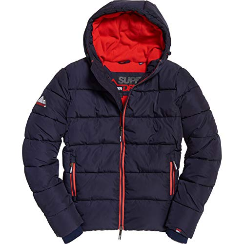 Superdry - Blouson M50006cr Sports Puffer Jri Navy/Bright Red - Couleur Bleu - Taille S