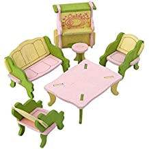 Set Muebles de Habitación Miniatura Madera Decoración para Casa de Muñecas Juguete Niños