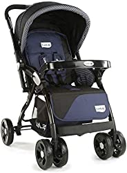 LuvLap Galaxy Stroller/Pram, Extra Large Seating Space, Easy Fold, for Newborn Baby/Kids, 0-3 Years (Navy/Blac