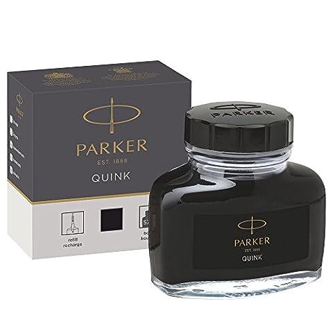 Parker Fountain Pen Liquid Bottled Quink Ink, 57 ml, in a Box - (Inchiostro Nero Disegno)