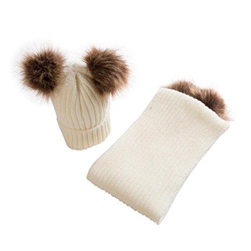 LuckyGirls 1PC Baby Hüte+Schal Set Fell Ball groß Halswärmer Mützen (Beige)