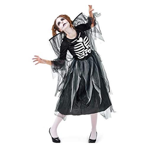 Damen Halloween Cosplay Kostüm Vintage Hexe Langarm Oansatz Garn Maxi Kleid (Günstige Ausschnitt Schwimmen Kostüm)