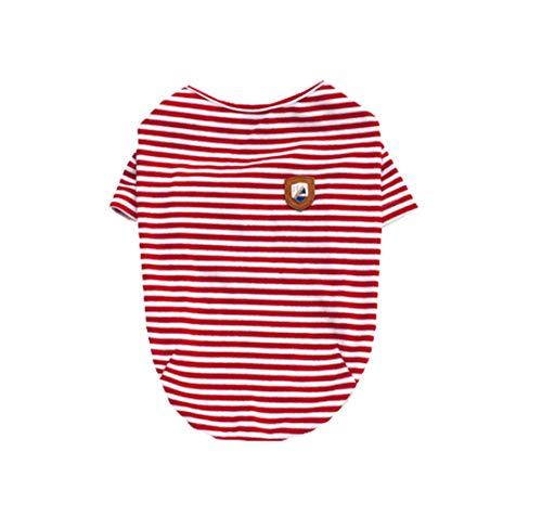 Pyjamas Gestreifte Kostüm - Mieel Haustier Kleidung Warme SlimFit Pet Bekleidung Herbst Dünne Hunde Kleidung Washed Bequemes T-Shirt Sweatshirts Gestreifte Puppy Kostüme Pyjamas