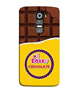 LG G2, LG G2 Dual D800 D802 D801 D802TA D803 VS980 LS980 Back Cover Bite Chocolate And Chocolate Pieces Concept Vector Illustration I Love Chocolate Design From FUSON