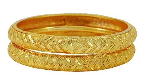 Banithani Vergoldetes Traditionellen Indischen 2 Stück Kada Armbandarmband-Set Schmuck 2 * 6