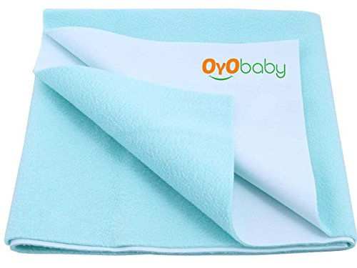 OYO BABY - Quickly Dry Sheet / Cot Mattress Protector Mat / Crib Sheets (140cm X 100cm, Large) - Sea Blue