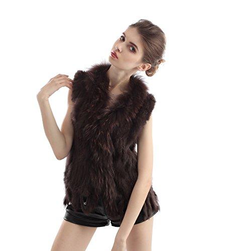 Echte Kaninchen Fell (LULIN Braun Damen Winter Ärmellose Weste aus Echt Kaninchen Fell Weich und Warm mit Quaste Design Modisch Stil)