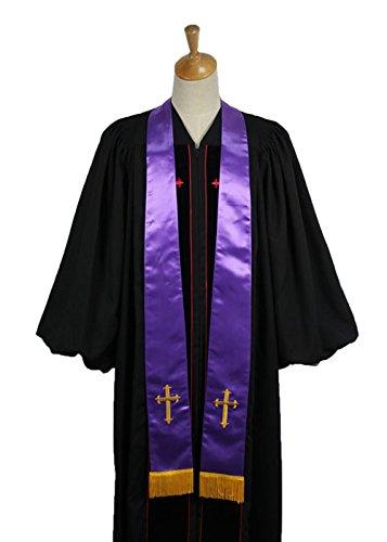 ivyrobes mixte adulte clergé Stole avec broderie de Croix Violet
