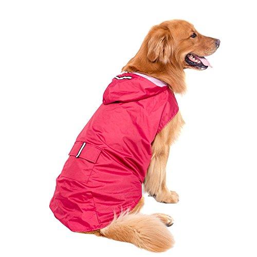 Gorgebuy Große Hund Regenmantel Haustier Regenmantel Regenjacke Hunderegenmantel Wasserdicht Kleidung pet dog Raincoat mit reflektierende Streifen Rot-5XL
