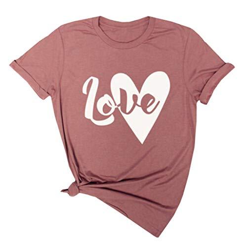 ose Mode BeiläUfig Damen Mode Damen Brief Drucken Kurzarm Shirt Dame Summer Casual T Topse(XL,Kaffee) ()