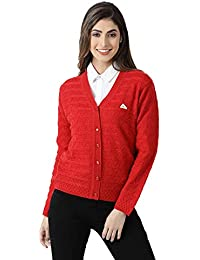 Monte Carlo Red Solid Wool Blend V-Neck Cardigan