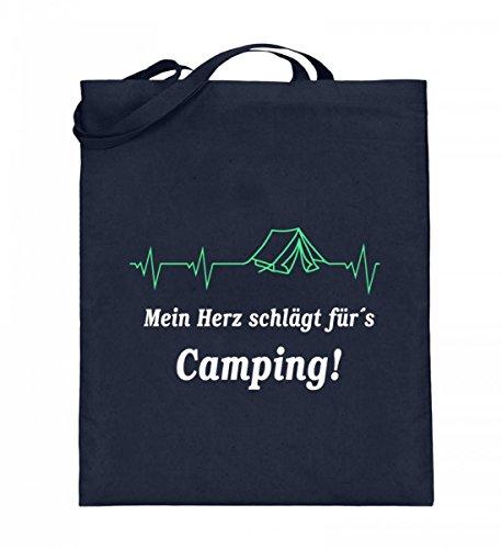 Hochwertiger Jutebeutel (mit langen Henkeln) - Camping Herzschlag Dunkelblau
