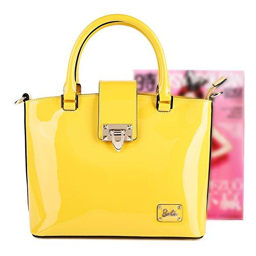 Barbie Sac à Main/Porté à la série de Mode Classique Elégant pour Filles/Femmes Shopping Fashion Cool en cuir PU de couleur pure # BBFB084 (bleu fonce) jaune