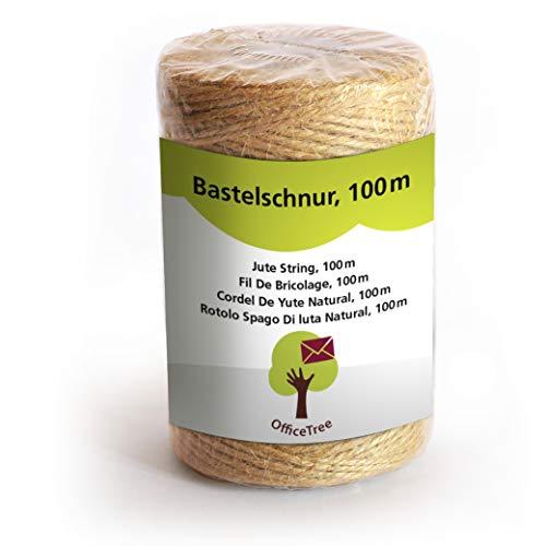 OfficeTree ® Bastelschnur - 100 m Rolle - Jutegarn - hochwertiges Natur-Produkt für Haushalt Garten Kunsthandwerk Dekoration - (1 Rolle)