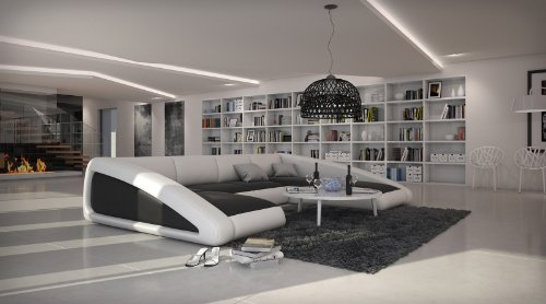 SAM® Sofa Garnitur schwarz / weiß / weiß Ciao rechts 205 x 355 x 250 cm designed by Ricardo Paolo Wohnlandschaft futuristisch Wohnzimmer Sofa Landschaft pflegeleichte Oberfläche -