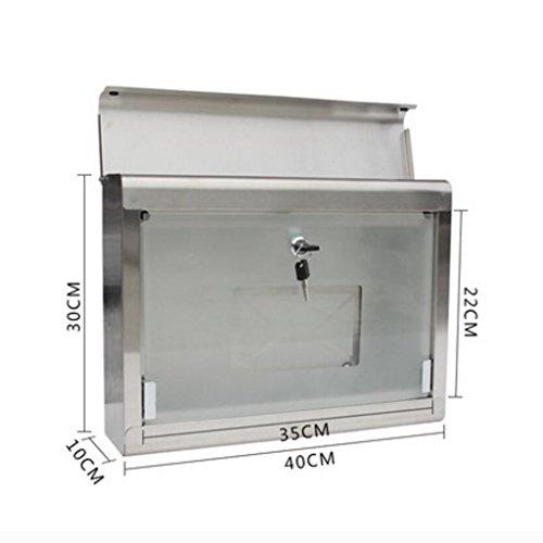 Villa Rainproof hängende Wand Briefkasten Edelstahl Briefkasten Glas Briefkasten Outdoor Fashion Xuan – worth having - 2