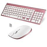 Fenifox Tastatur Maus Set Kabellos, QWERTY Layout Amerikanisch Wireless Keyboard Mouse mit Flüsternd Key, 2.4 GHZ Wireless für Computer /Laptop/Tablet - Roségold
