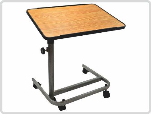 Beistelltisch, Farbe: braun/silber, fahrbar - Beistellwagen Krankentisch Bett-Tisch