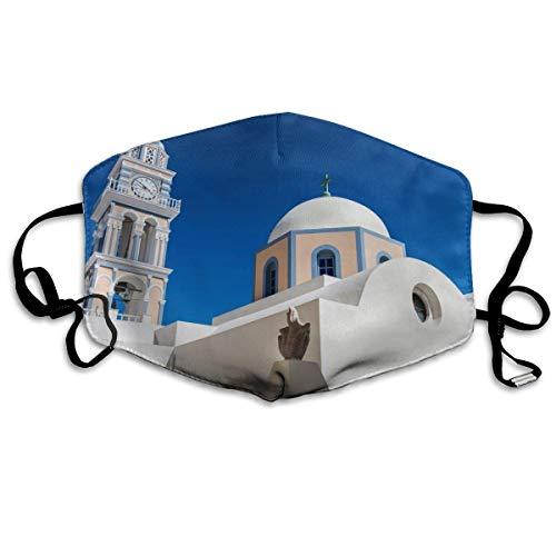 air kong Masque de Couverture de Visage, Masque de Bouche de décoration de Mode drôle et de Mode, Masques de sécurité Confortables et de Recyclage Bleu Ciel Blanc bâtiment de Santorin en Grèc