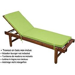 STOF Matelas/Bain de Soleil déhoussable, Vert/Anis, 55x180cm, 100% Microfibre, Attache à Clips (Transat en Bois Non-Inclus)