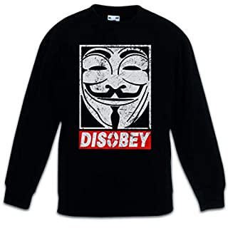 ANONYMOUS DISOBEY Kids Children Boys Girls Sweatshirt Pullover V Guy For Wie Anonymous Vendetta Fawkes Maske UK Mr. Robot F Society fsociety Hacker Allsafe Cybersecurity E Corp MR TV