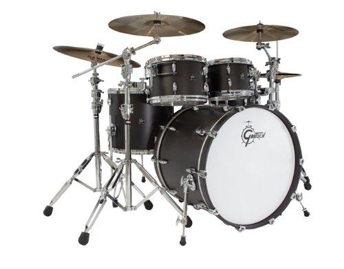 Gretsch New Renown Maple 4er Set Euro Drum Set Shell Pack - Blue Metal Trommel-Set -inch schwarz matt (Gretsch Drum Set)