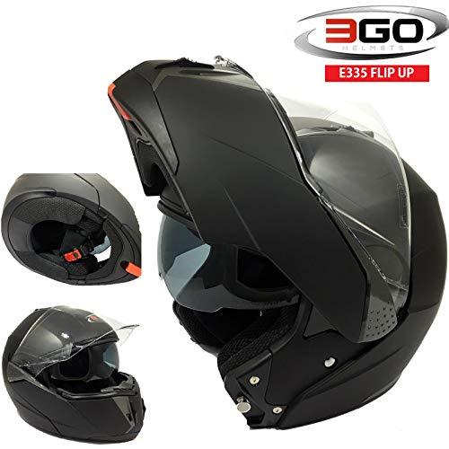 3GO CASCHI Moto da Uomo E335 Casco Moto Modulare Sportivo Touring Scooter Flip-up Racing apribile con Doppia Visiera (Nero Opaco,M)