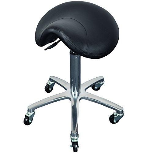 Cleveroo Arbeitshocker mit Sattelsitz MILEY, höhenverstellbar 55 bis 75 cm, 360° drehbar, 5 Rollen, schwarz