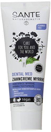 SANTE Naturkosmetik Dental med Zahncreme Myrrhe, Ohne Natriumfluorid & Menthol, Vegan, Bio-Extrakte, Natürliche Zahnpflege, 75ml -
