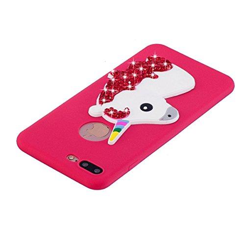 Custodia iPhone 7 Plus Case Kcdream Handy Fashion Moda Ultraslim TPU Caso Elegante Carina Souple Flessibile Morbido Silicone Copertura Perfetta Protezione Smartphone Shell Paraurti Custodia Per iPhone Rosso