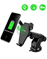Fast Wireless Car Charger, Eletecpro 360° Degree Rotating Portable Car Phone Holder Fast Charger For Samsung Galaxy S6, S7, S6 / S7 Edge, Note 7/5, Nexus 9/10, QI Wireless Standard Charge for iPhone X,iPhone 8 Plus/8, Fit all Qi Enabled Devices