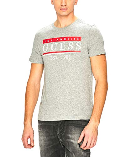 Guess Herren Cn Ss 81 Stripes Tee Pullunder, Grau (Stone Heather Grey M Shgy), X-Large